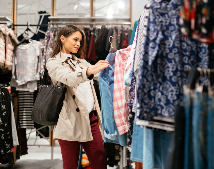 Beautiful woman shopping trendy clothes