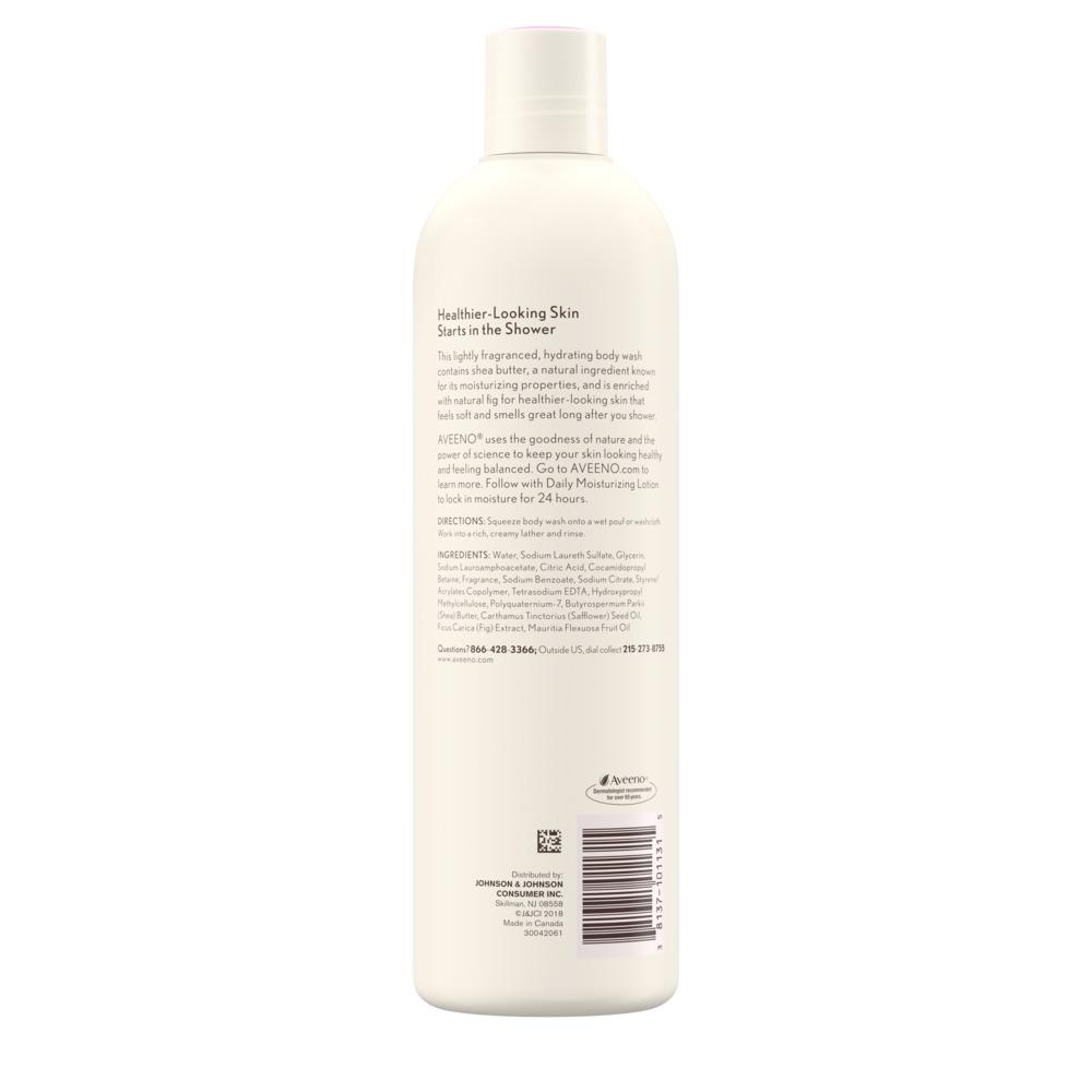 Imagen de producto de la parte posterior de: Aveeno Positively Nourishing, Hydrating Body Wash with Fig & Shea Butter