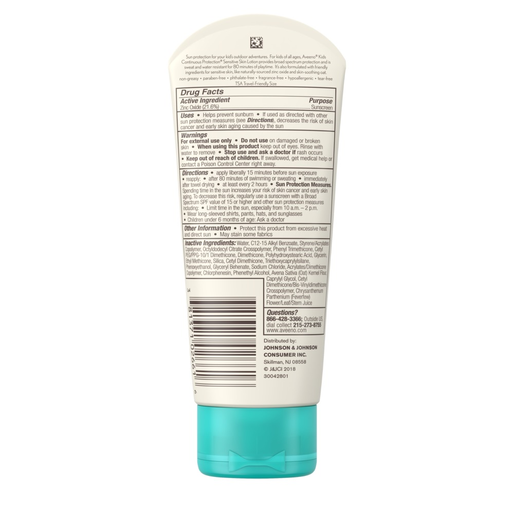 AVEENO® KIDS CONTINUOUS PROTECTION® Lotion Sunscreen Broad Spectrum SPF 50