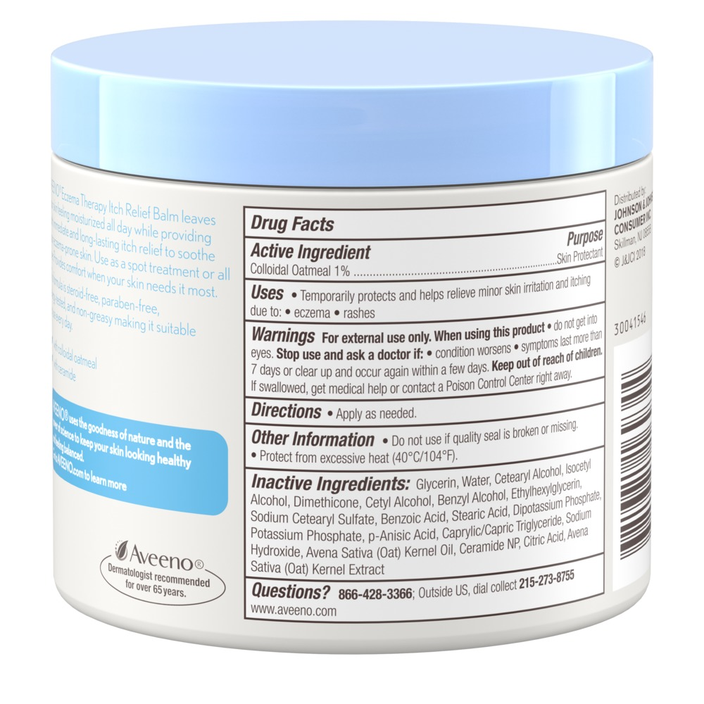 Product shot of side of aveeno eczema therapy itch relief balm ingredient list, including colloidal oatmeal and ceramide