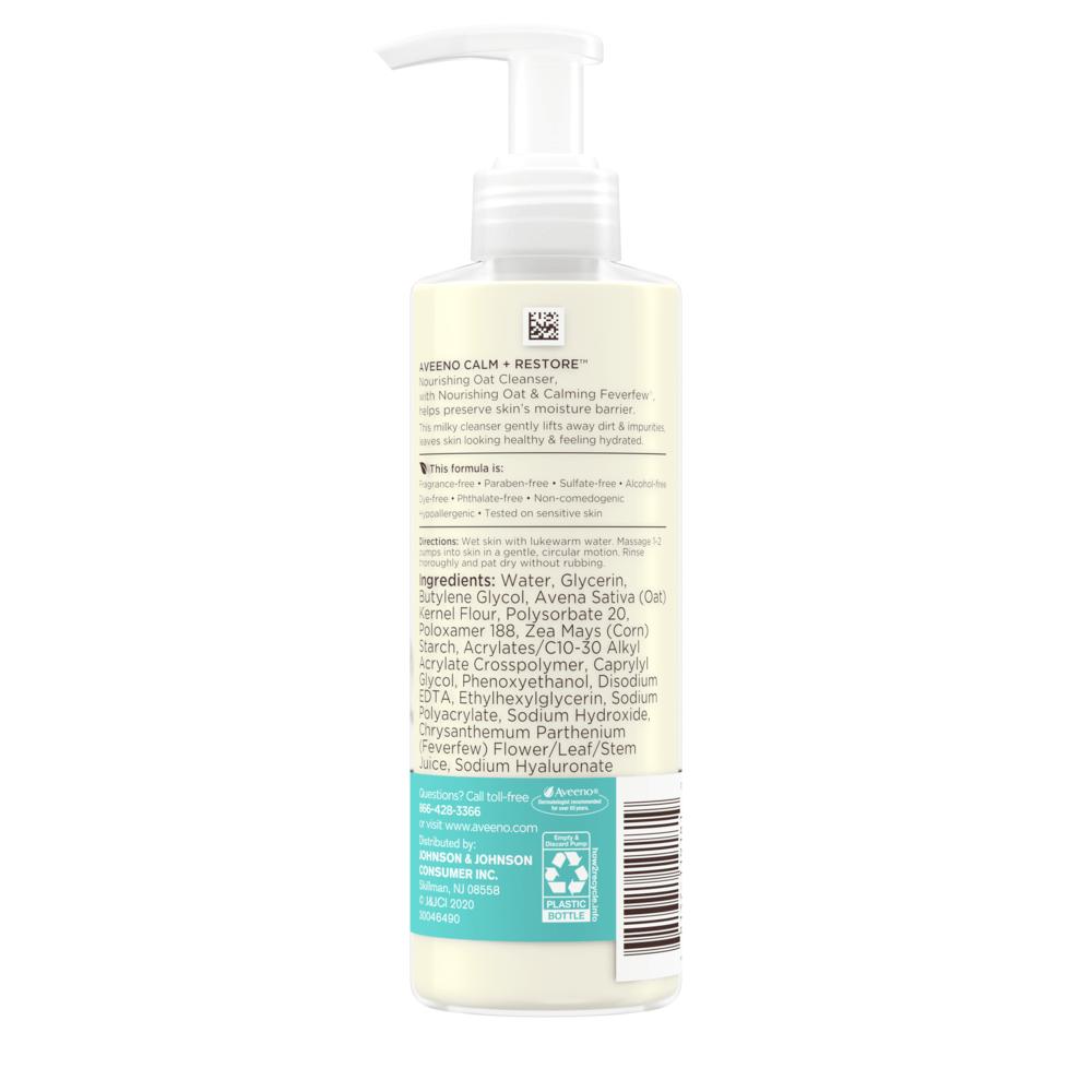 Calm + Restore Oat Gel Facial Cleanser For Sensitive Skin Back of Bottle