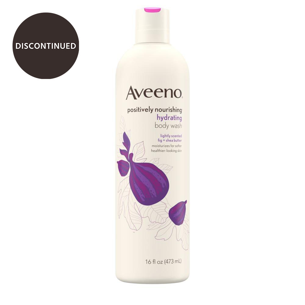 Product shot of aveeno positively nourishing, hydrating body wash with fig and shea butter