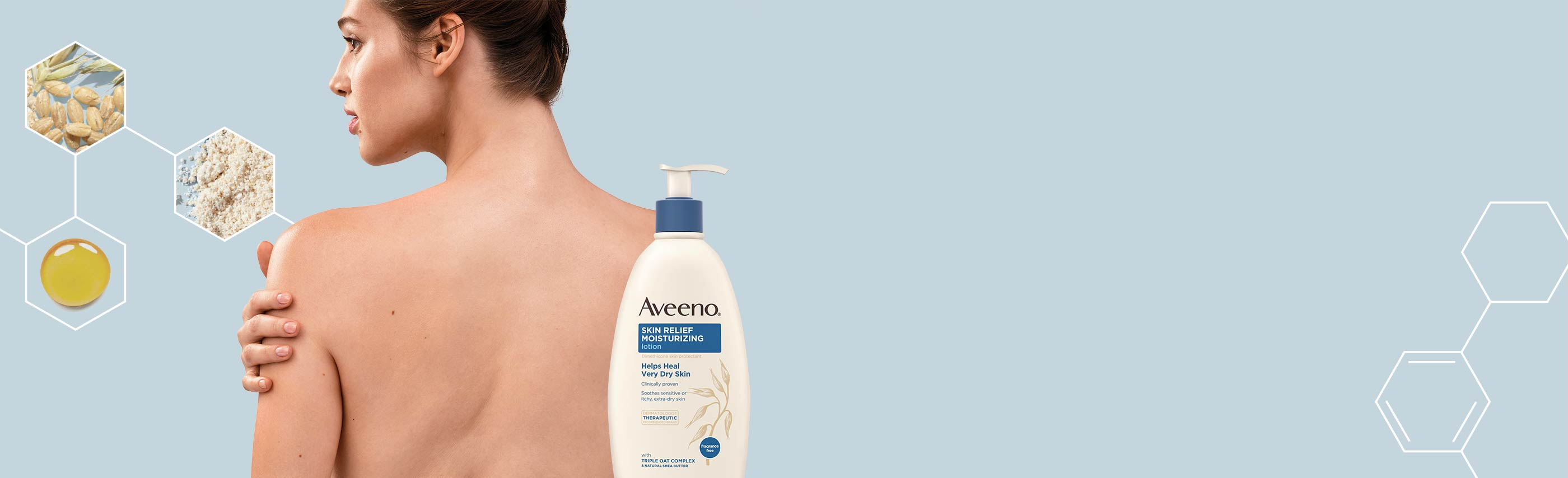 woman using aveeno skin relief moisturizing lotion with oat and shea butter for sensitive, very dry skin