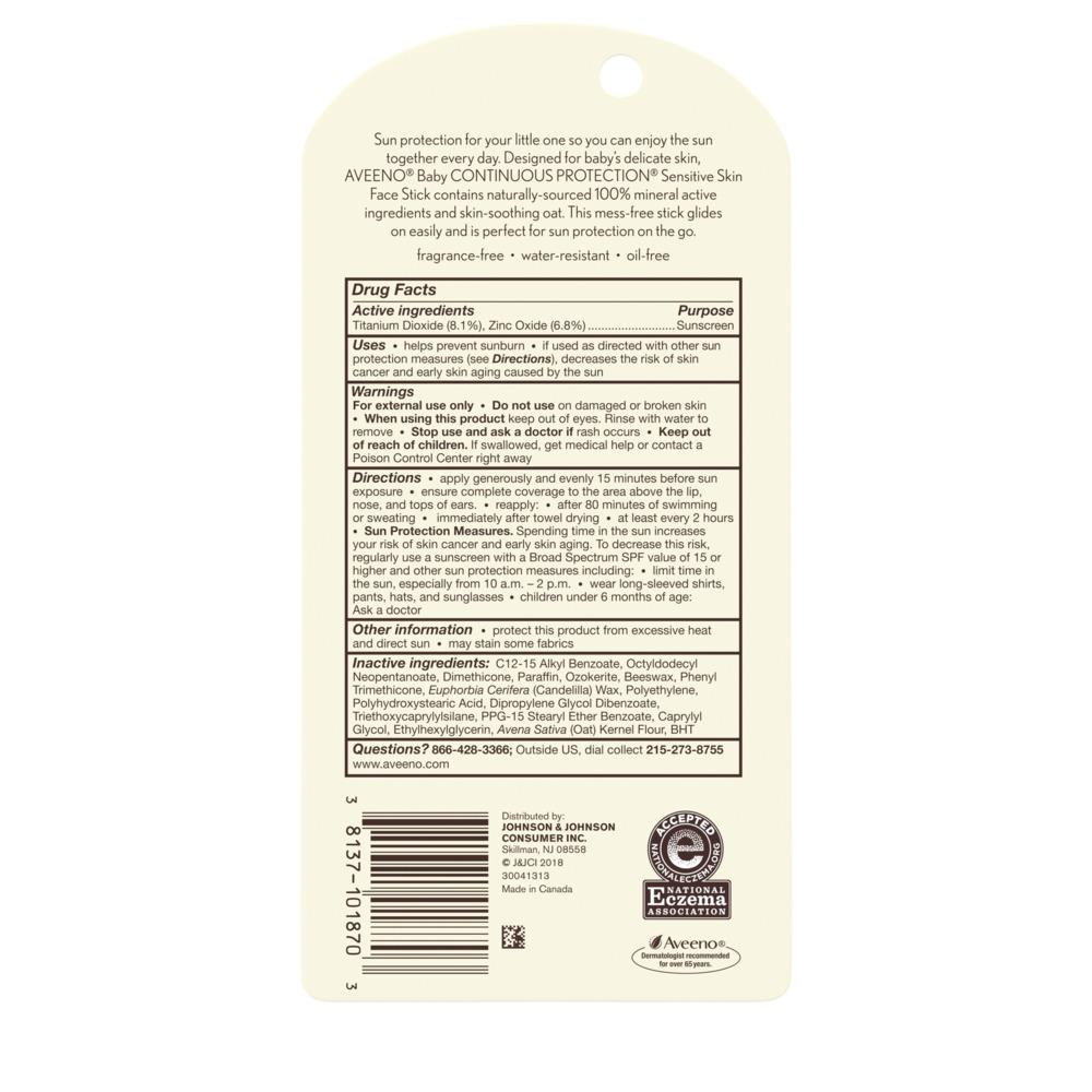 Aveeno® Baby Continuous Protection® Sensitive Skin Face Stick Sunscreen SPF 50