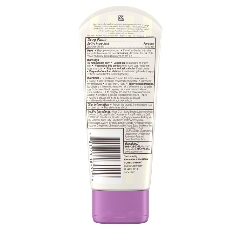 Aveeno® Baby Continuous Protection® Sensitive Skin Zinc Oxide Sunscreen SPF 50