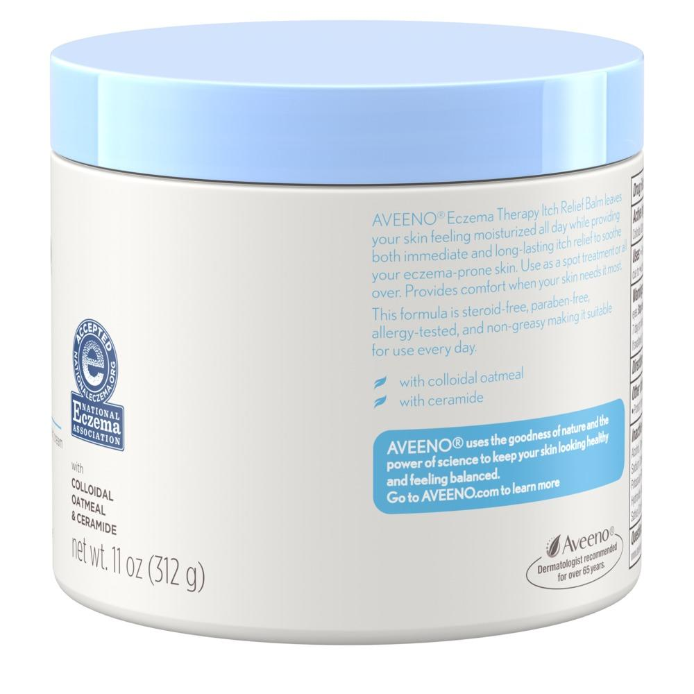 Product shot of side of aveeno eczema therapy itch relief balm for eczema-prone skin. With colloidal oatmeal and ceramide