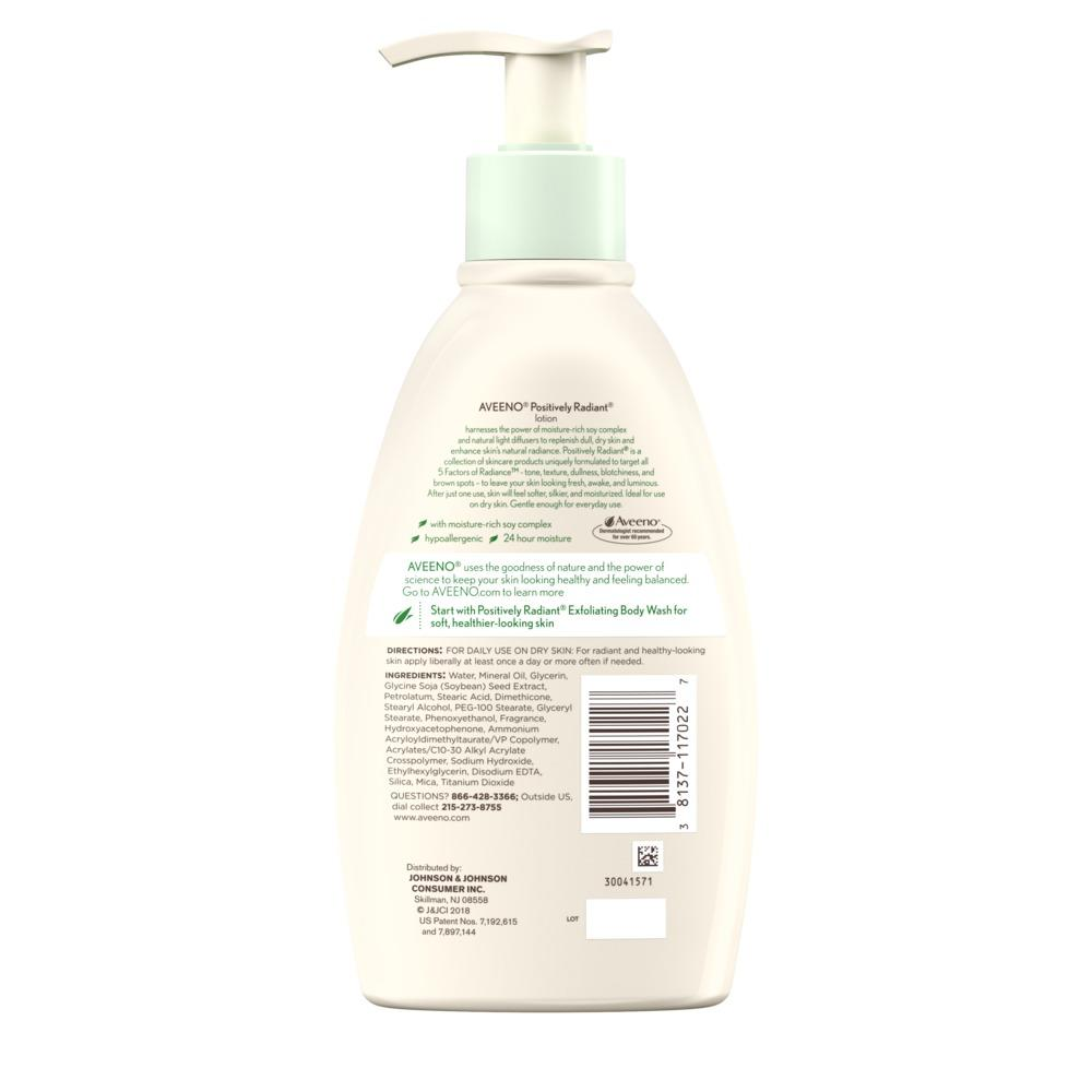 Product shot of aveeno positively radiant lotion with soy complex. Body lotion for dull, dry skin
