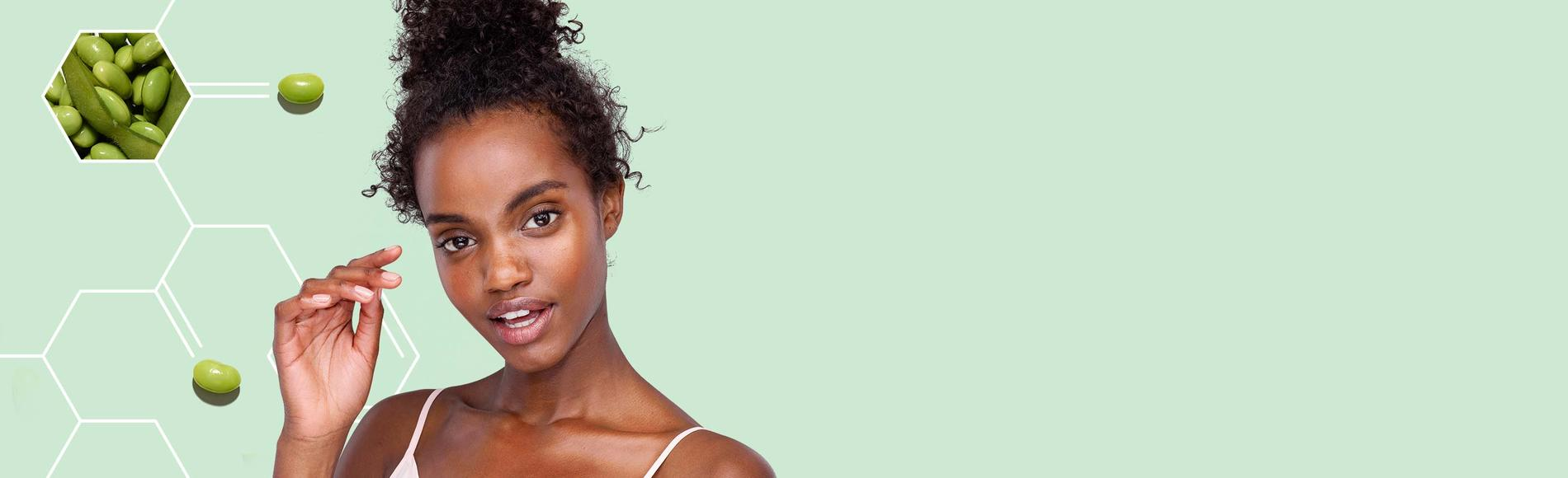 woman with vibrant skin using Aveeno clean complexion products