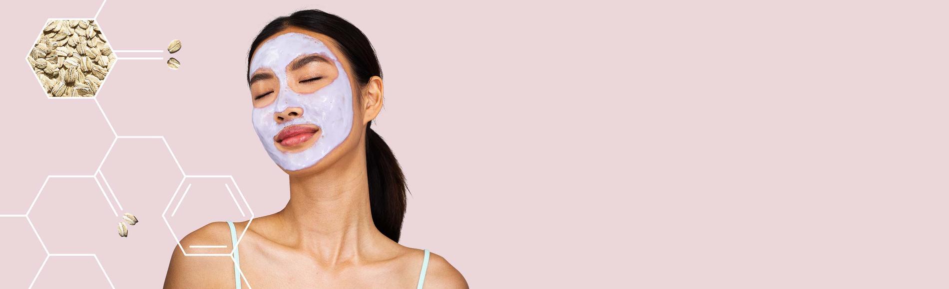 woman wearing Aveeno face mask